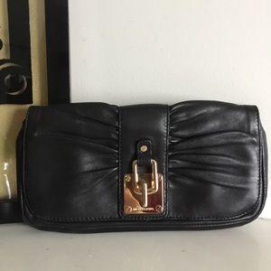 Michael Kors Black Pleated Leather Clutch Purse